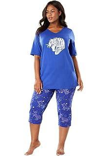 5336804a49c41 Dreams   Co. Women s Plus Size Graphic Tunic Pj Set at Amazon ...