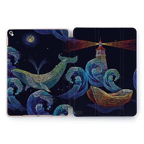 Wonder Wild Apple New iPad Case 9.7 inch Mini 1 2 3 4 Air 2 10.5 12.9 2018 2017 Cover Skin Texture Watercolor Print Stars Blue Night Design Clear Smart Stand Dream Whale Lighthouse Ocean Imagine