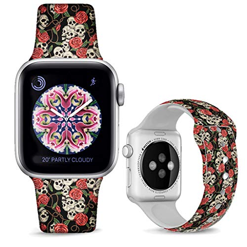 DOO UC Floral Bands Compatible with iWatch 38mm/40mm,Rose Skull Silicone Fadeless Pattern Printed Replacement Bands for A pple Watch Series 4/3/2/1, M/L for Women/Men