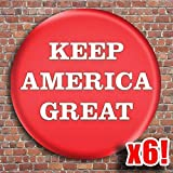 6-Pack - Red Keep America Great Kag Buttons - Pins - Badges - Support Donald Trump - Usa Patriot 2.25 Inch - New Release