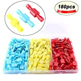 FULARR 180Pcs Fully Insulated Quick Wire Connectors Set, Nylon Male/Female Spade Wire Crimp Quick Disconnects Wiring Wire Terminals –– 35 Pairs Red, 35 Pairs Blue, 20 Pairs Yellow
