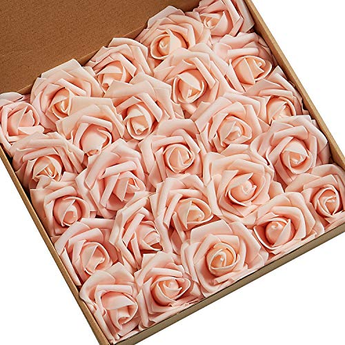 N&T NIETING Roses Artificial Flowers, 25pcs Real Touch Artificial Foam Roses Decoration DIY for Wedding Bridesmaid Bridal Bouquets Centerpieces, Party Decoration, Home Display (Blush) -