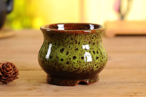 Vintage Style Round Ceramic Succulent Pot, Multi Color / Colorful Glazed, Indoor Home Décor Cactus Flower Bonsai Pot Planter Container, 4.3 inches (Green, 1)