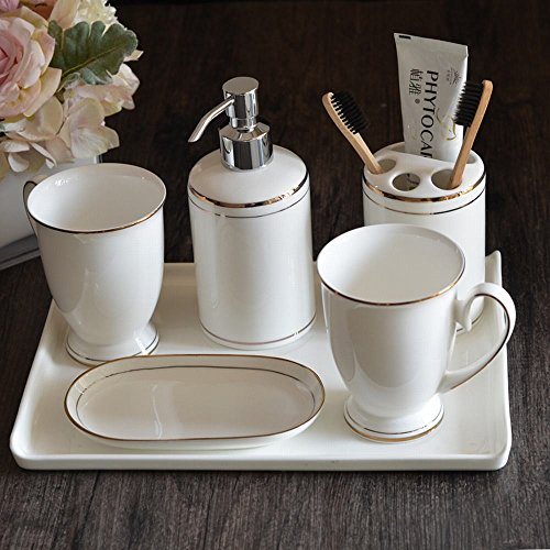 WU-Bathroom Suite Bathroom vanity set 6-piece bone china Toilet brush head on the brush holder creative ceramic mouthwash cup