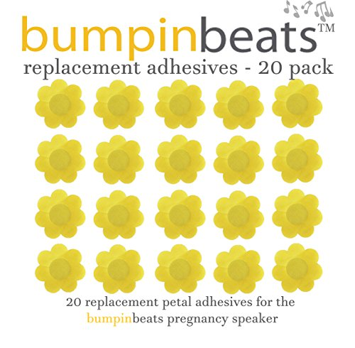 Adhesive replacements for bumpinbeats pregnancy speaker – 20 count, petal shaped, yellow-gold self-adhesive.