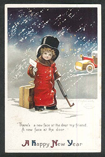 Happy New Year child in furs Clapsaddle Art embossed postcard 1910s