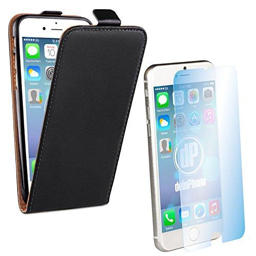 iPhone 6 / 6s Set beschichtetes Leder Flip Case Schutz Hülle Top Schwarz + Panzerglas Displayschutz