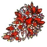 EVER FAITH Flower Tear Drop Brooch Pendant Garnet Color January Birthstone