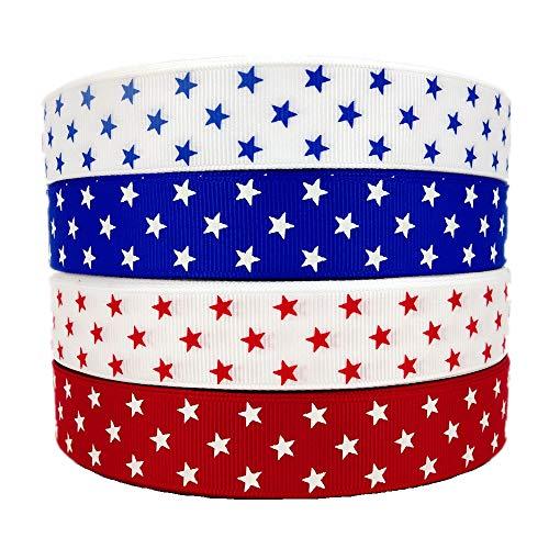 20 Yards (4 X 5yd) 7/8 Inch Grosgrain Star Ribbon 4Th of July Patriotic