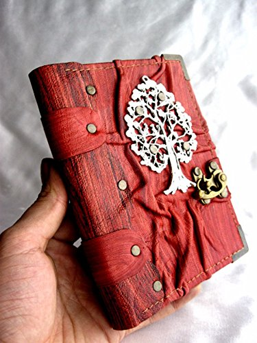 Handmade Small leather journal notebook sketchbook with Tree Of Life emblem,handmade book leather,leather bound journal,leather journals