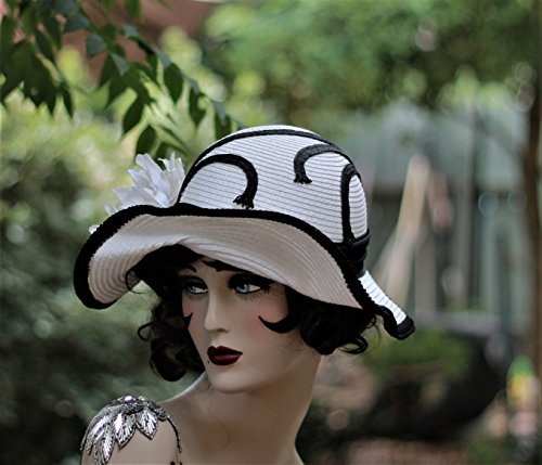 Wide Brim Vintage Style 20s Flapper Hat by Hats by Gail