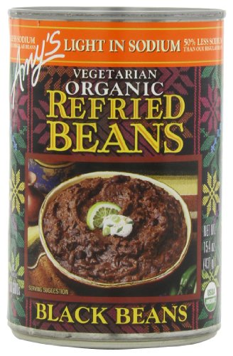 Amys Kitchen Low Fat - Amy's Light in Sodium Organic Refried Black Beans, 15.4-Ounce Cans (Pack of 12)