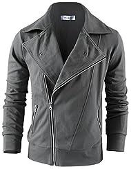 Tom's Ware Men's Fashion Asymmetrical Zip Up Jacket