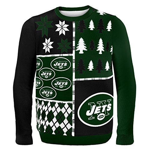 - New York Jets Busy Block Ugly Sweater Large