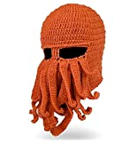 SURPCOS Octopus Hat Funny Winter Warm Octopus Beard Fisher Cap Wind Ski Face Mask (Orange)