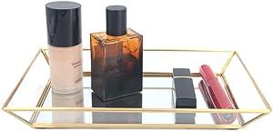 Affogato Mirror Tray Decorative Gold Tray for Jewelry Storage Organizer Makeup Tray for Vanity, Dresser Coffee Table Perfume Bottle Trays Countertop Wedding Home Decor Bathroom - Medium
