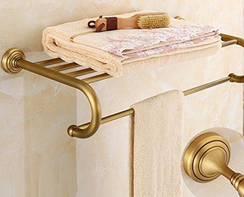 USDFJN Handtuchhalter Badetuchstange Schrank Wandmontierte Badezimmer Duschablage Lagerung Veranstalter Retro das Regal 62 cm