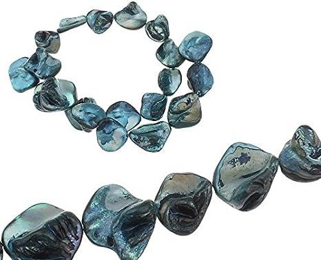 Perlas de nácar, conchas nugets, fichas indeformables, aprox. 20 mm, 1 hilo, 18 unidades (verde petróleo)