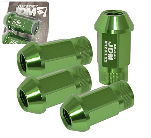 Green Tuner M12X1.25MM 4 Pieces Lug Nut Wheels Rims Open End Cone Seated Jdm Sport Bolt Screw Import Race Luxury Drift Drag Track Autox Vip by JDM Sport (Image #1)