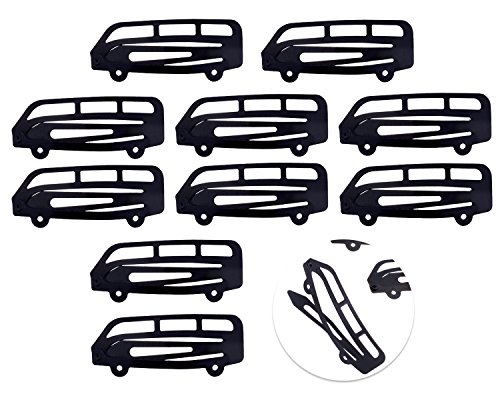 - 10pcs Set Kit Lot Pack of Black Buses Shaped Hair Slides Grips Hairstyling Accessories Iron Hair Snap Clips Hairdos Prongs Sectioning Bendies Sleepies