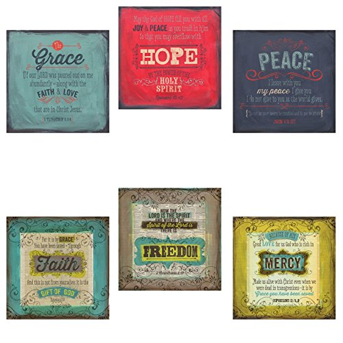 Inspirational Faith Freedom Mercy & Grace Hope Peace Bible Verses; Religious Decor; 6 12x12in Poster Prints by Gango Home Décor
