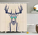 Ambesonne Antlers Shower Curtain, Illustration of Deer Dressed up Like Cool Hipster Fashion Creative Fun Animal, Cloth Fabric Bathroom Decor Set with Hooks, 75' Long, Beige Black