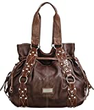 Vitalio Vera Marcela Chocolate Brown Oversized Tote Handbag