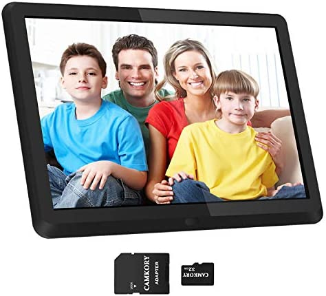 1920×1080 16 9 IPS Screen 10 inches Digital Photo Frame 32GB SD Card HD Digital Picture Frame Widescreen, 1080P HD Video Frame, Photos Auto Rotate, Support Thumb USB Drive, SD MMC MS Card Black