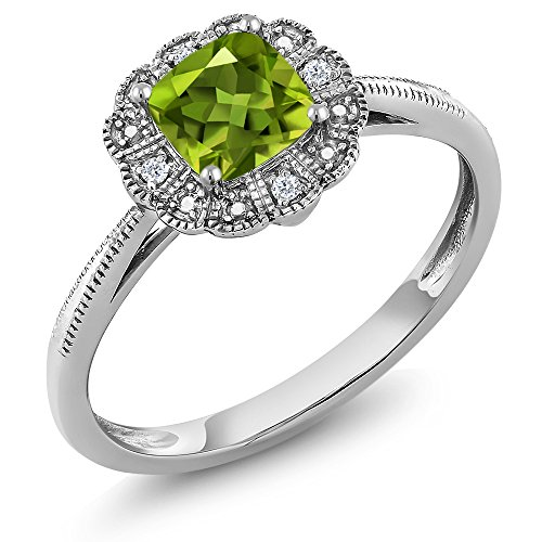 10K White Gold Ring Cushion Green Peridot with Diamond Accent (Ring Size 7) White Gold Peridot Ring