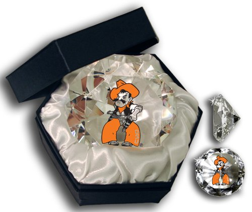 NCAA Oklahoma State University Cowboys logo on a 4-Inch High Brillance Diamond Cut Crystal Paperweight