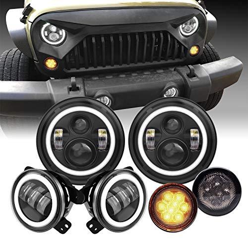 """7"""" LED Headlights with White DRL/Amber Turn Signal 4"""" LED Fog Lights Amber Turn Signal Light for Jeep Wrangler 2007-2018 JK LJ Tj"""
