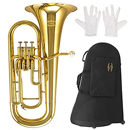 Glory GEU31,Gold Finish, 3key Bb flat Euphonium with Stainless Steel  Pistons,Click to see more Style