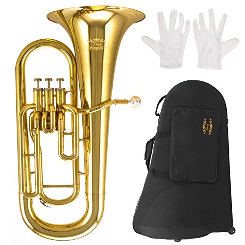 Glory GEU31 ,Gold Finish, 3key Bb flat Euphonium with Stainless Steel Pistons,Click to see more Style by GLORY