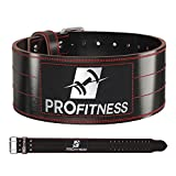 ProFitness Dark Leather Workout Belt (4 Inches Wide) – Proper Weightlifting Form – Lower Back and Lumbar Support for Cross Training Exercises, Powerlifting Workouts, Deadlifts (Black/Red, Small)