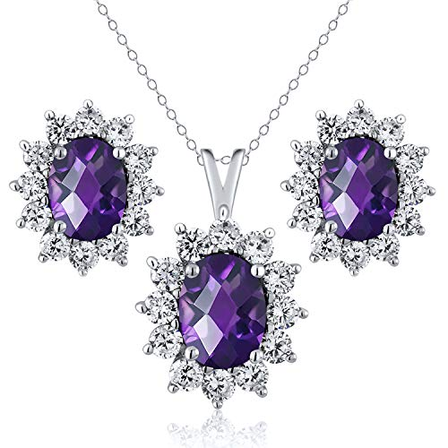 Gem Stone King 3.10 Ct Oval Checkerboard Purple Amethyst 925 Silver Pendant Earrings Set
