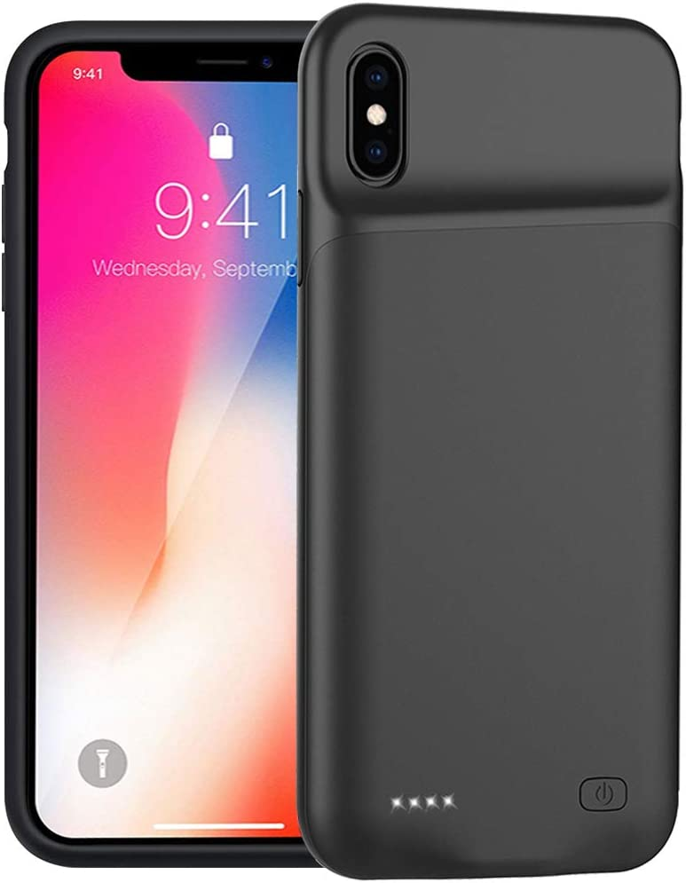 Battery Case for iPhone X/XS/10, 5200mAh Portable Protective Charging Case Compatible with iPhone X/XS (5.8 inch) Rechargeable Extended Battery Charger Case (Black)
