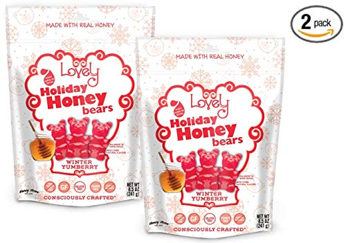 GELATIN-FREE Yumberry Honey Gummy Bears (2-Pack) - Lovely Co. (2) 8.5oz Bags - NO HFCS, GLUTEN or Fake Ingredients!
