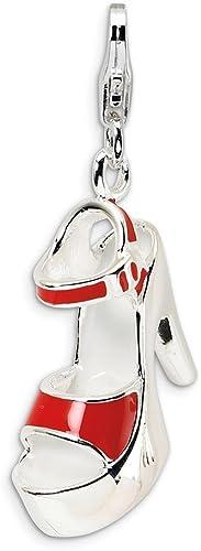 CUTE 3D High Heel Shoe Enamel Charm Pendant Real 925 Sterling Silver