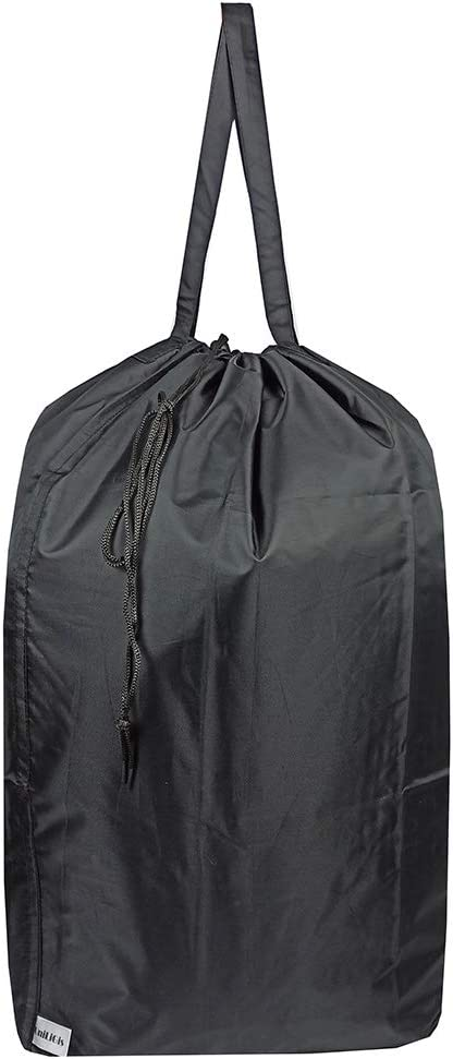 UniLiGis Washable Travel Laundry Bag with Handles and Drawstring, Heavy Duty Large Enough to Hold 3 Loads of Laundry, Fit a Laundry Basket or Clothes Hamper, 27.5x34.5 in,Black