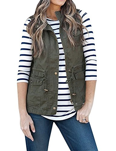 Nlife Women Casual Zipper up Military Jacket Vest Coat Stripe Tunic Blouse Top (M, 1-Olive Green)