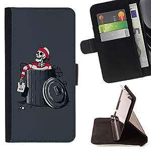 For HTC DESIRE 816 Case , Divertido Waldo Esqueleto- la tarjeta de Crédito Slots PU Funda de cuero Monedero caso cubierta de piel