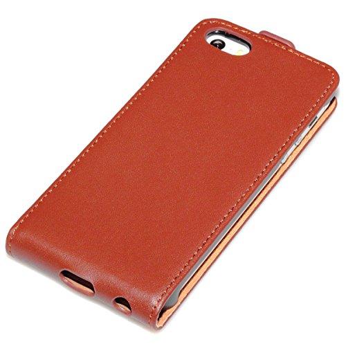 Apple iPhone 5 5S Coque Housse Pochette en cuir véritable à rabat en cuir véritable Marron