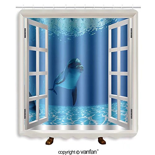Vanfan designed Windows 267450029 Dolphins couple swims under the water and looking Shower Curtains,Waterproof Mildew-Resistant Fabric Shower Curtain For Bathroom Decoration Decor With Shower Hooks