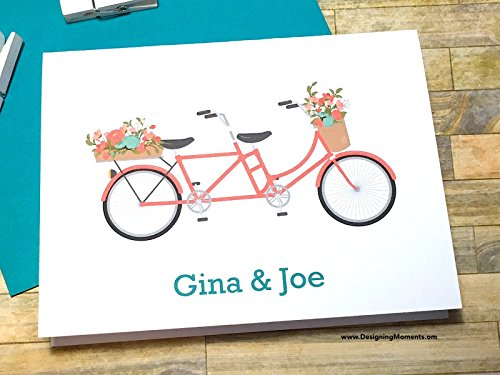 Coral Tandem Bicycle Personalized Note Cards, Thank You Cards, Mint Teal Coral Bike Cards, Custom Bike Cards, Personalized Stationary DM199 by Designing Moments