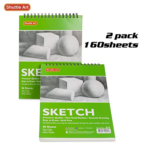 Artists Sketch Books, 9 x 12 Shuttle Art 160 Sheets of Sketch Paper pad Ideal for Drawing and School Supplies