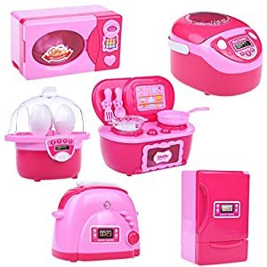 Kids Kitchen Toy Accessories Set, Pretend Play Kitchen Toy for Kids with Refrigerator, Stove, Oven, Microwave, Toaster and Steam Egg Timer with Light and Sound 6 pcs Batteries Included