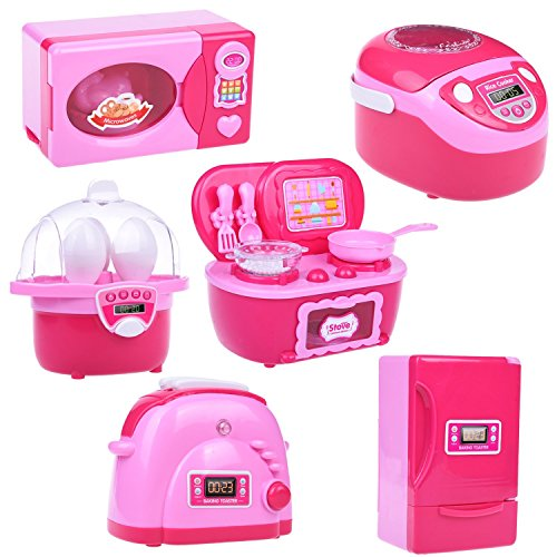 Kids Kitchen Toy Accessories Set, Pretend Play Kitchen Toy for Kids with Refrigerator, Stove, Oven, Microwave, Toaster and Steam Egg Timer with Light and Sound 6 pcs Batteries Included Childrens Toy Stove