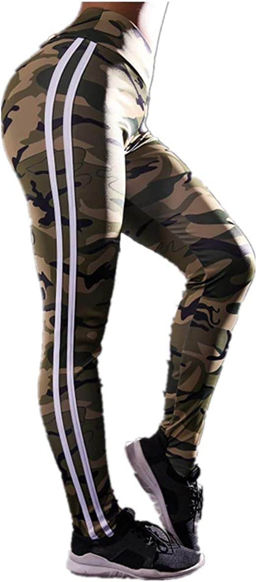 JOFOW Womens Leggings Gradient Colorful Striped High Waist Casual Stretch Skinny Workout Sport Pants