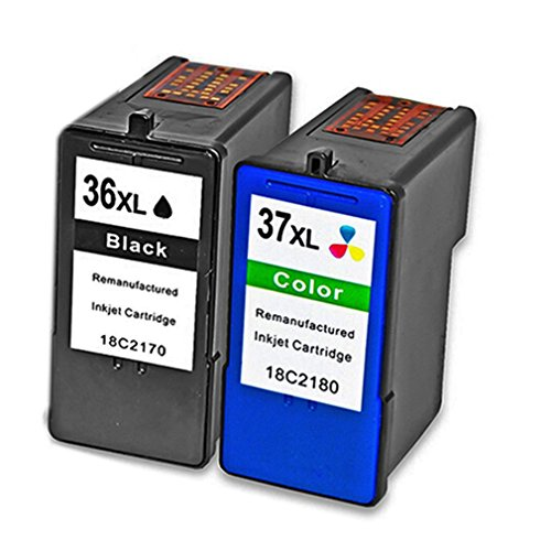 QINK 2 Pack ( Black Color ) for Lexmark 36XL 37XL Ink Cartridge High Yield High Capacity Show Ink Level 18C2130 18C2140 for Lexmark Z2420 X3650 X4650 X6675