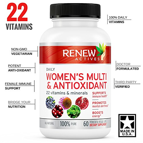 #1 Best MAX Potency Womens Daily Vitamin & Antioxidant! We Deliver 100% of Your Daily Vitamin & Mineral Values to Bridge Your Nutrition Gap - Feel The Difference or Your Money Back!